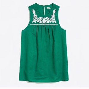 J Crew 14 linen blend embroidered sleeveless top